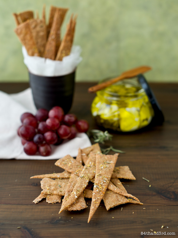 Lemon & Rosemary Sourdough Rye Crackers