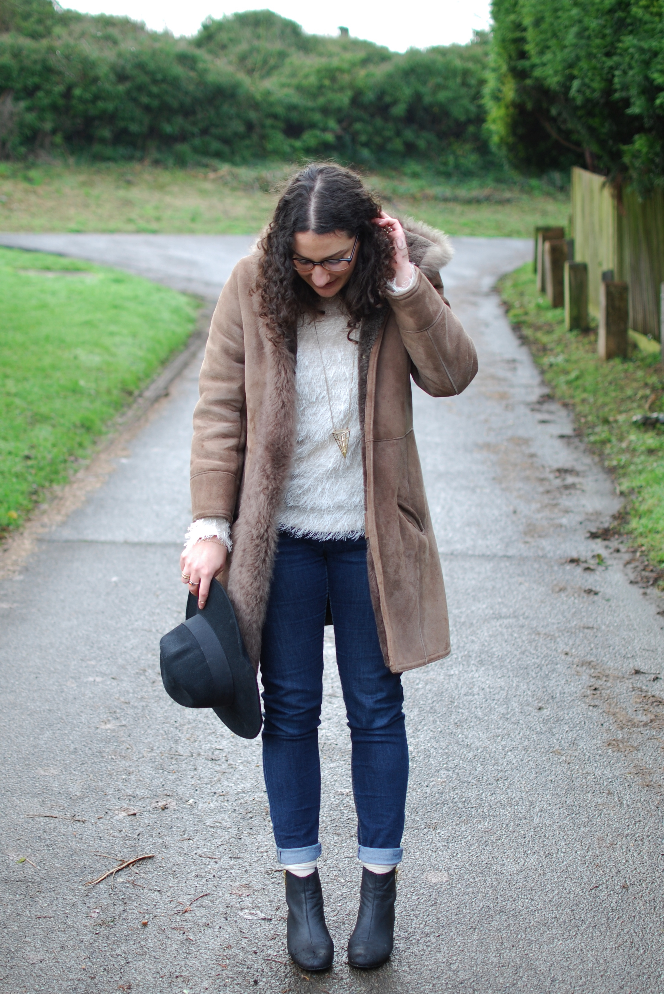 chambray and curls winter style outfit blog brown coat