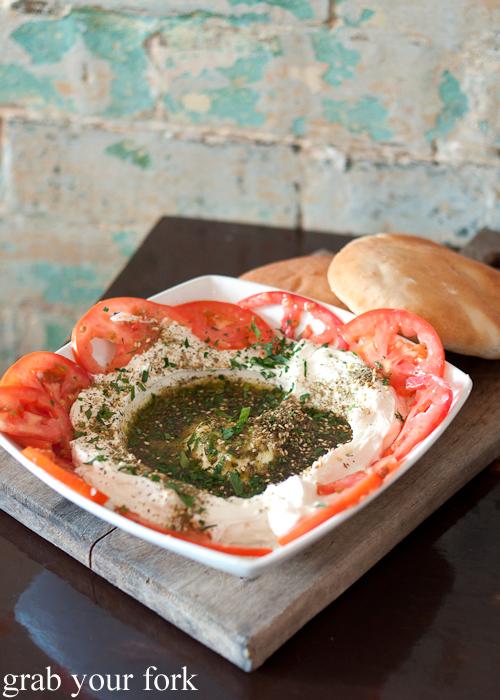Labanne labne tomato za'ata and pita plate at Shenkin Kitchen Enmore