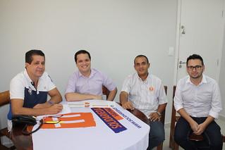 David Martins, presidente estadual, Rodrigo Bonfim, pré-candidato a deputado estadual, e os coordenadores regionais Fábio Pereira e Diogo Telles
