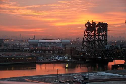 railroad bridge andy sunrise river newjersey glow cityscape nj andrew newark aga passaic aliferis