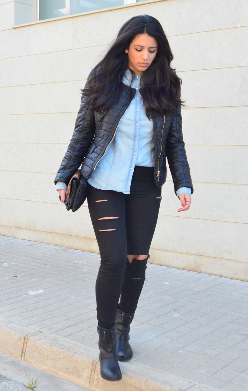 florenciablog look rocker broken jeans inspiration leopard clutch stradivarius how to wear broken jeans (11)