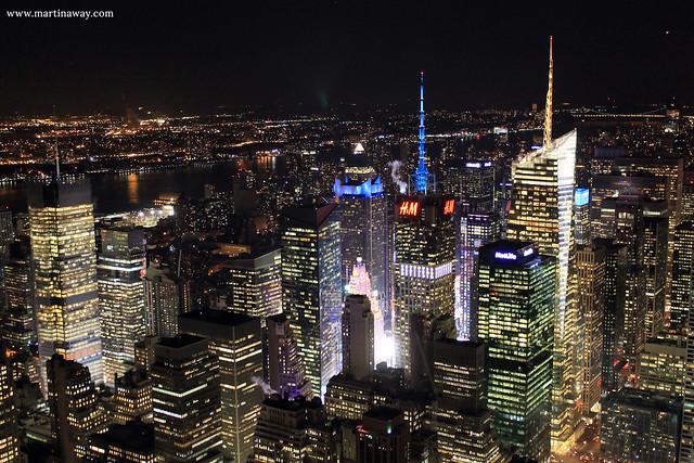 Manhattan di notte dall'Empire State Building