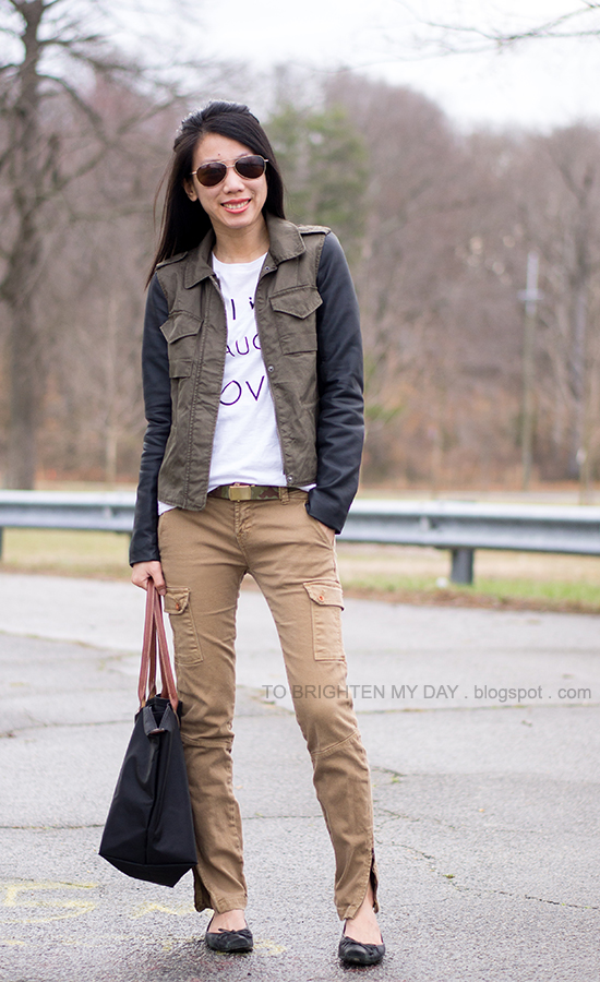 military/leather jacket, graphic tee, cargo pants, camo belt