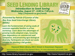 Introduction to Seed Saving Workshop @ Hayward Main Library - August 27, 2014, 6:00 to 7:30 p.m.