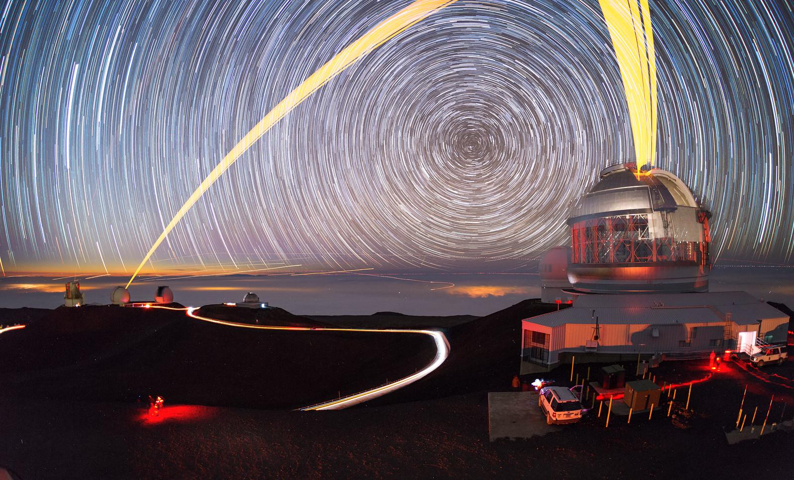 Mauna Kea Telescopes beneath the Swirling Skies