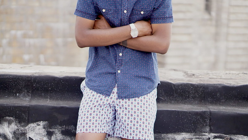 Short Sleeve Denim Shirt With Polka Dots and Printed Shorts