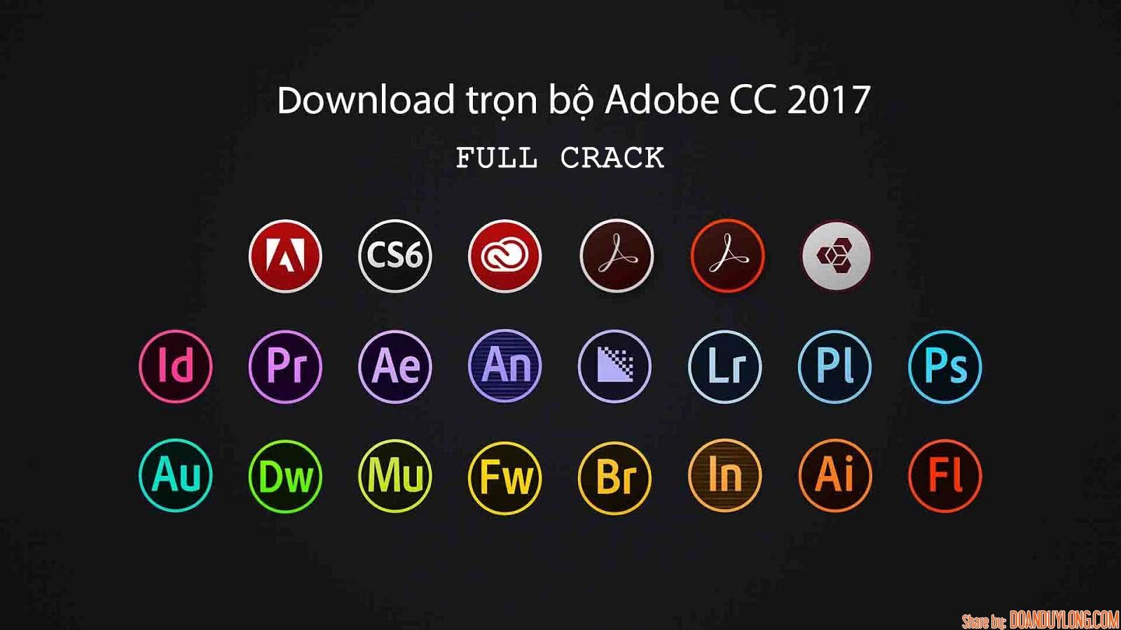 Download đầy đủ phần mềm đồ họa Adobe CC 2017 full