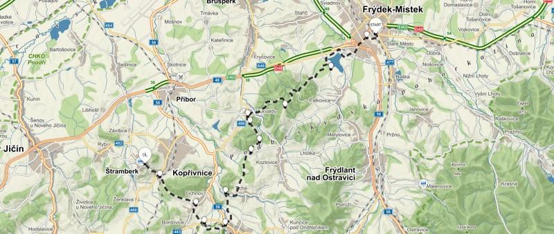 2. trasa z Frýdku-Místku turistický pochod přes Palkovické hůrky – 36 km (propozice + mapa)