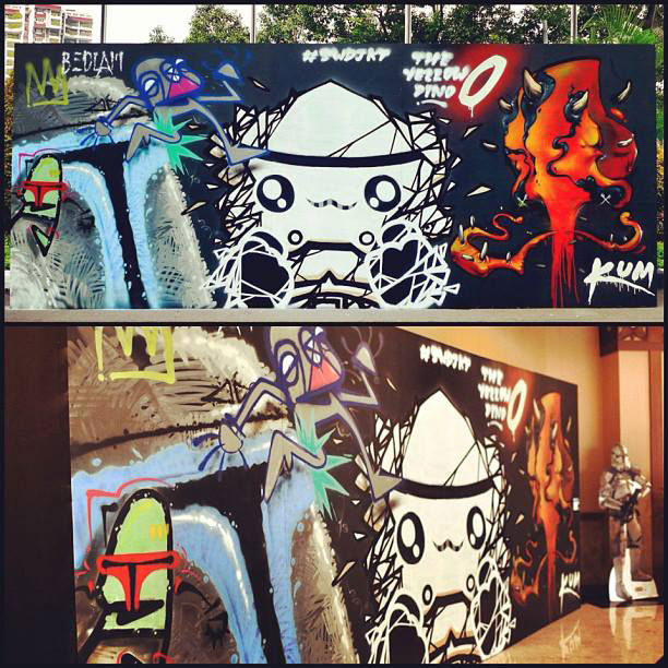 Welcome to the darkside live mural painting seen star for Mural jakarta