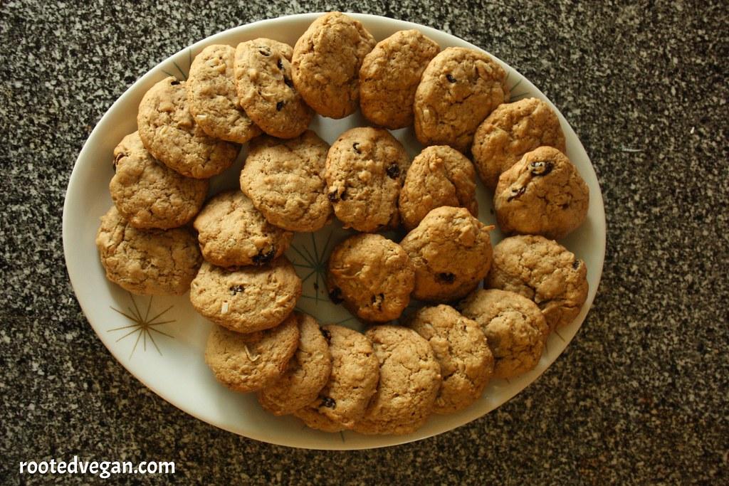 Vegan Oatmeal Raisin Coconut Cookies by rootedvegan.com