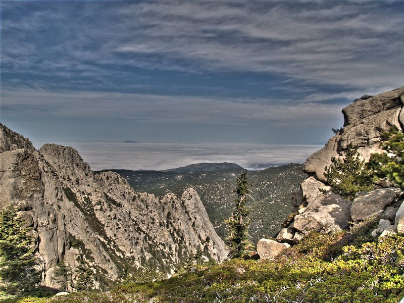 PCT - HDR shot looking west toward Lily Rock and Idyllwild with marine layer clouds far below