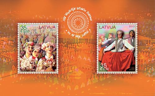 Pastmarku bloks - XXV Vispārējie latviešu Dziesmu un XV Deju svētki