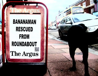 BANANAMAN RESCUED FROM ROUNDABOUT