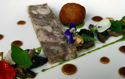 Rabbit Terrine (with pickled wild mushroom, tarragon puree, chicken mousseline, & Guinness gel) @ The Mustard Seed