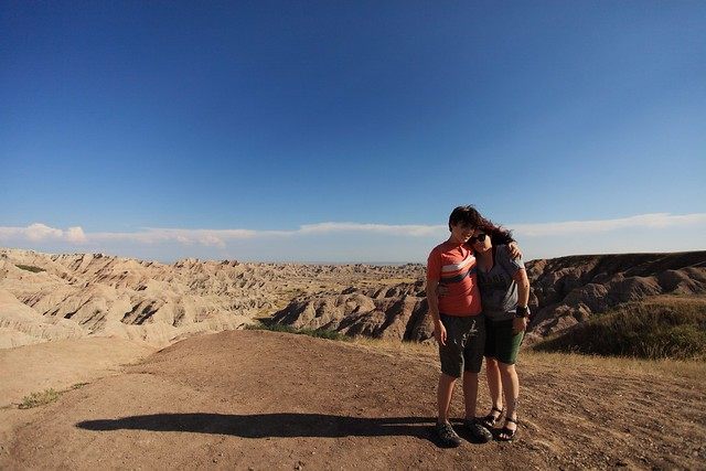 Mother and son in the badlands