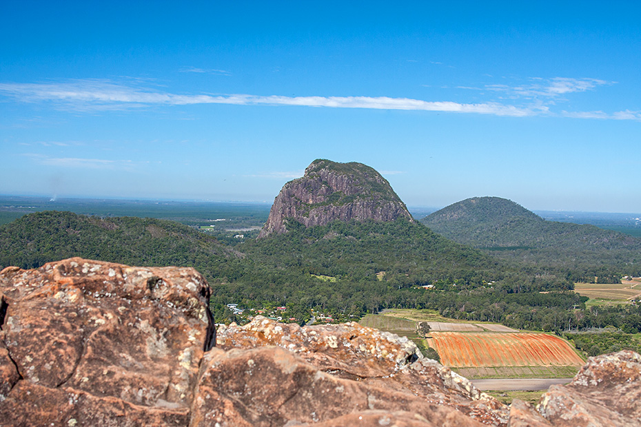 The most recognisable of the Glasshouse Mountain range - Mt Tibrogargan (364m).