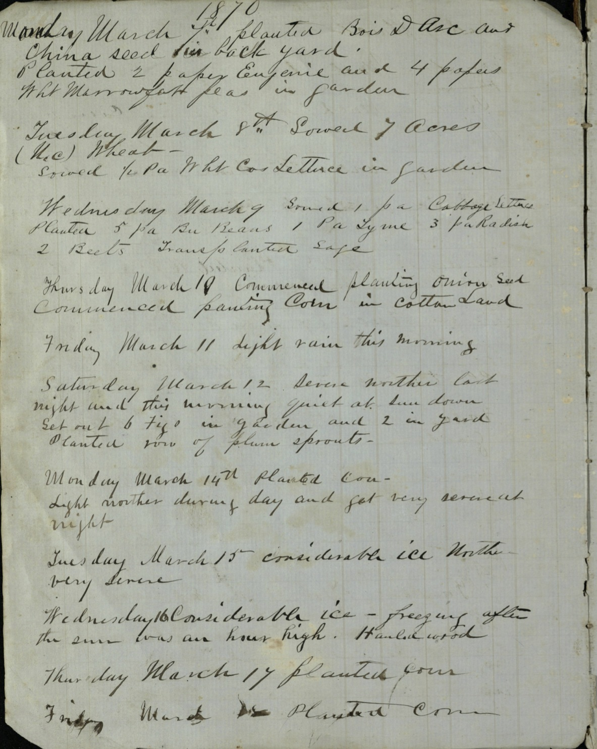 Major Isham Harrison Earle's weather observation journal, March 1870