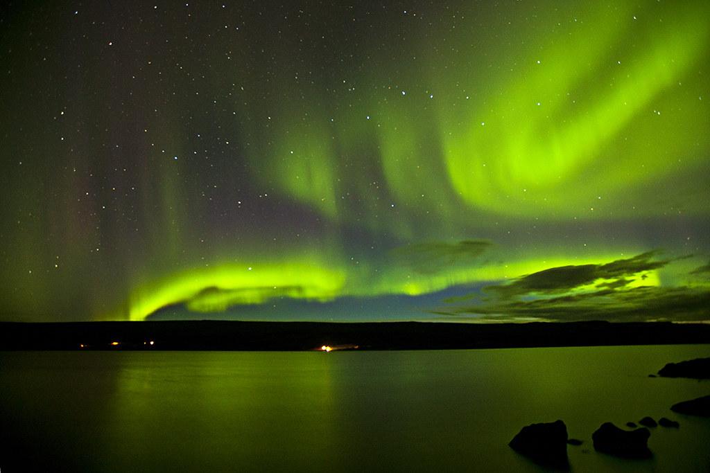 Aurora borealis at Lagarfljót - Iceland