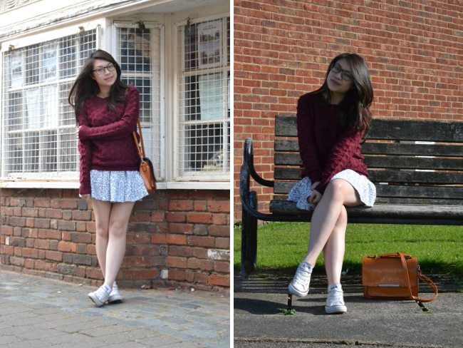 Daisybutter - UK Style and Fashion Blog: what i wore, ootd, fashion blogger, burgundy jumper, autumn outfit inspiration