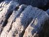 外の岩は霜だらけ