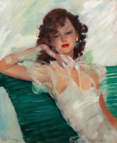 022-Dama elegante en un banco-Jean Gabriel Domergue