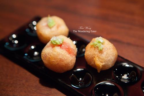 Course 10 - Cherry tomato tempura topped with fresh wasabi and sea salt