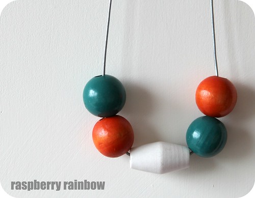 Raspberry Rainbow beaded necklace 1