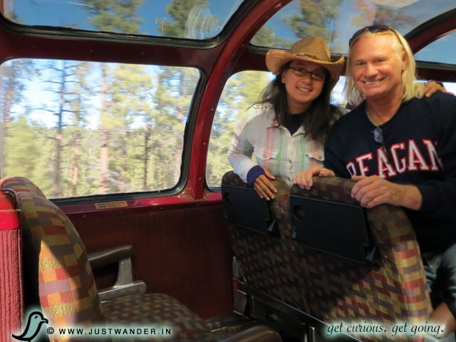 PIC: Bill and Maya of JustWander.in at their seats in the Observation Dome of the Grand Canyon Railway