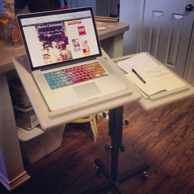 Christmas gift from the husband. My laptop will no longer take up valuable counter space & will always be by my side in the kitchen. #foodbloggerproblems