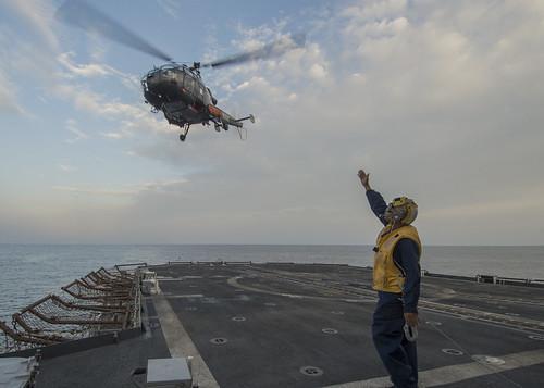 USS San Jacinto conducts flight operations.