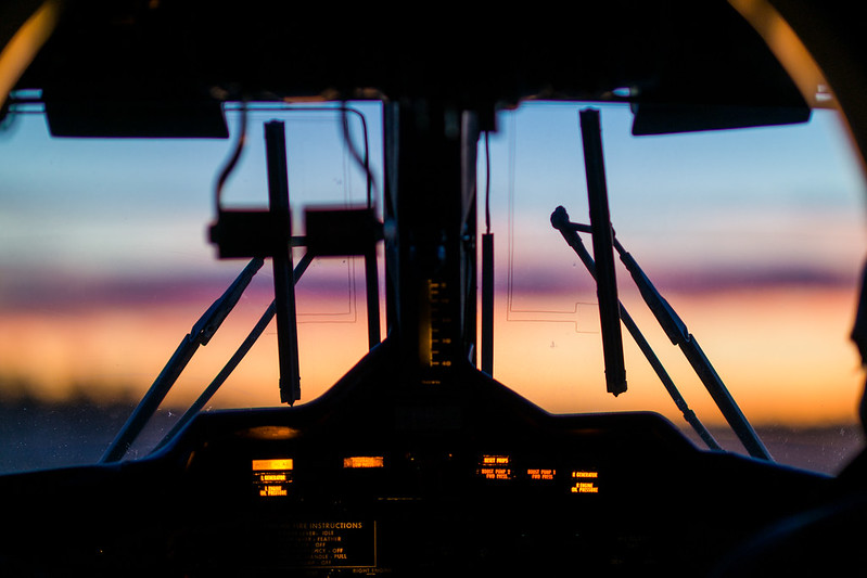 Sunset Through an Airplane Cockpit