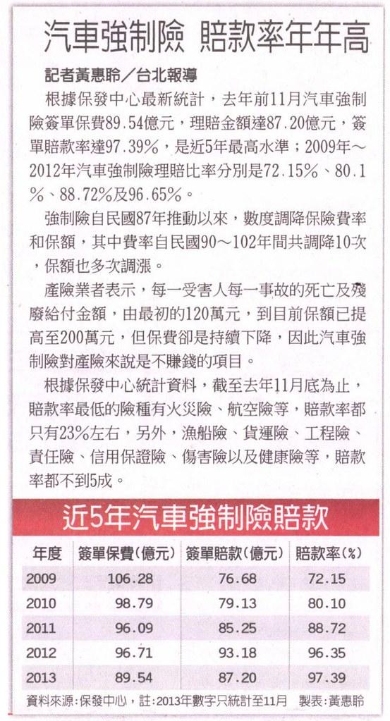 20140123[工商時報]汽車強制險 賠款率年年高