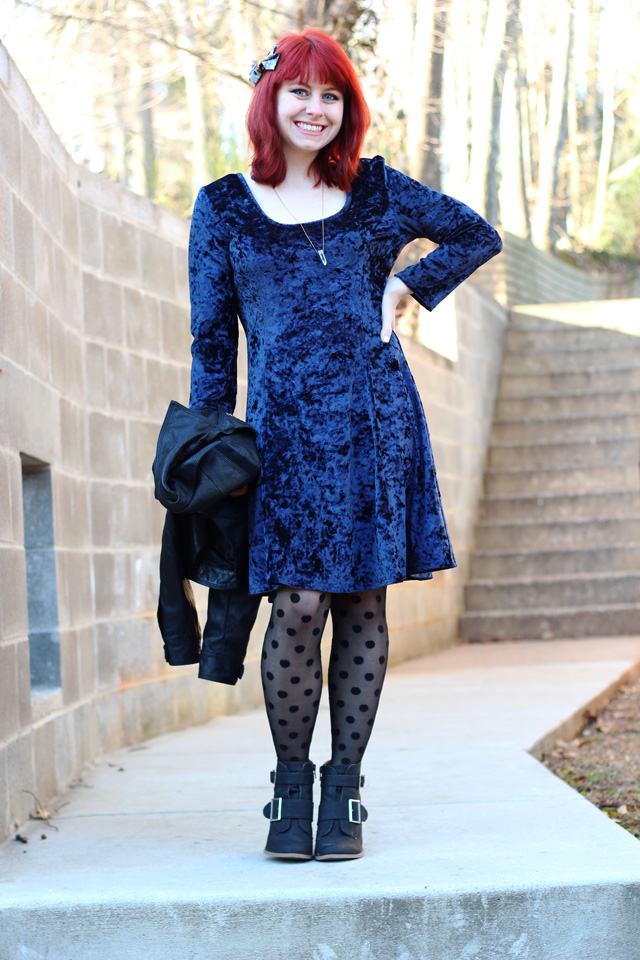 Blue Crushed Velvet Dress, Polka Dot Tights, & Ankle Boots