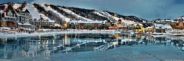 Photo:Start of blue hour at the village 2. #2349 By Jeff S. PhotoArt at HDCanvas.ca