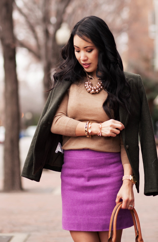 cute & little blog | olive wool blazer, polka dot camel sweater layering, radiant orchid mini skirt, pearl cluster statement necklace, michael kors bromley brown over the knee otk boots | winter outfit