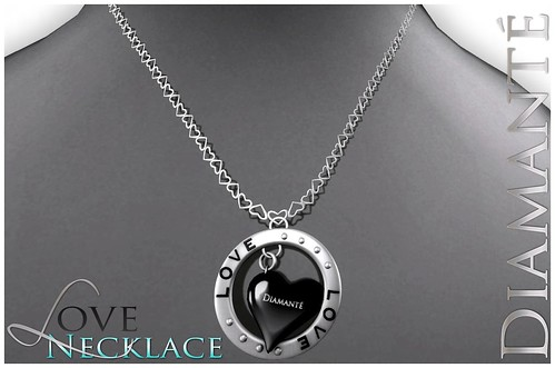 :Diamante: LOVE Necklace - Black by Alliana Petunia