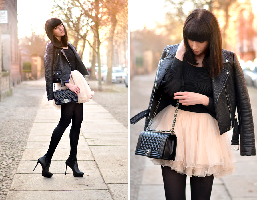 Chicwish dress Chanel Le Boy bag Zara leather biker spring outfit look ootd CATS & DOGS fashion blog Berlin 3