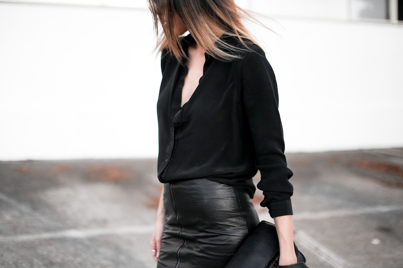 modern legacy fashion personal style blog australia leather pencil skirt KAHLO Proenza Schouler PS11 mini vs classic silk shirt slide sandals street style all black everything (6 of 13)