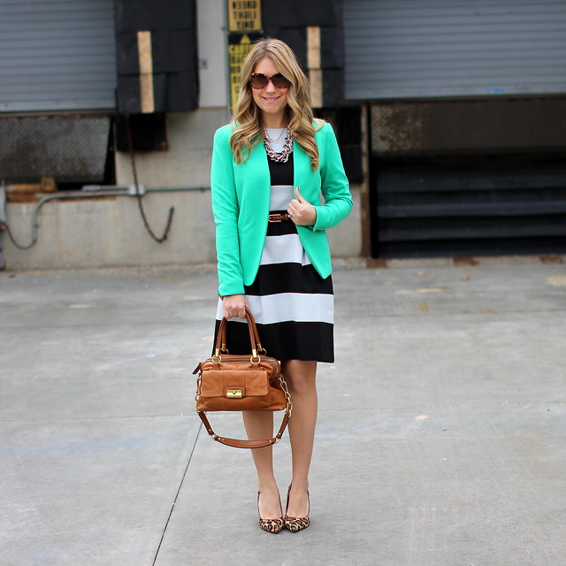 LOFT Striped Dress and Green Blazer Business Casual Outfit
