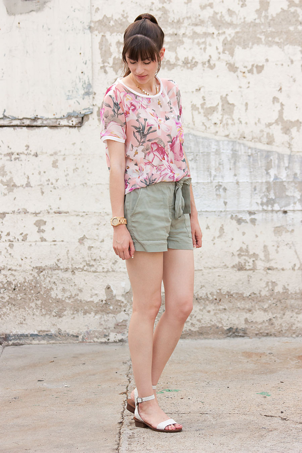 Pink Floral Top, Gap Tie Shorts, Madewell Sandals