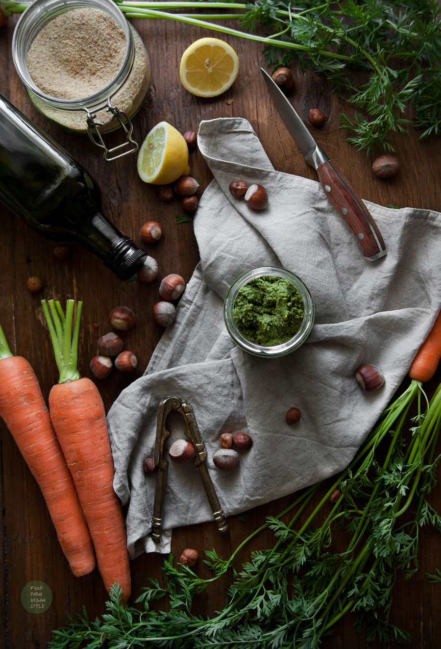Carrot greens pesto with hazelnuts