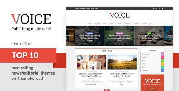 Voice v2.4.1 - Clean News/Magazine WordPress Theme