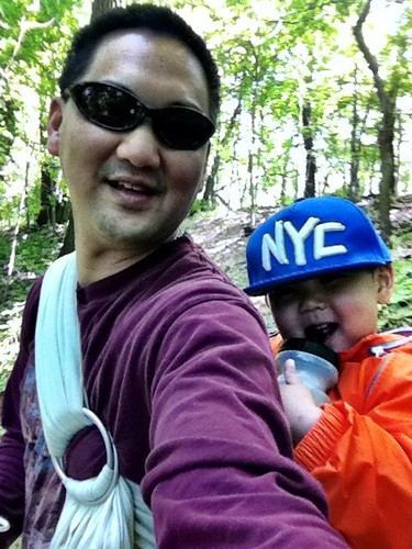 Hiking in North Park in a ring sling