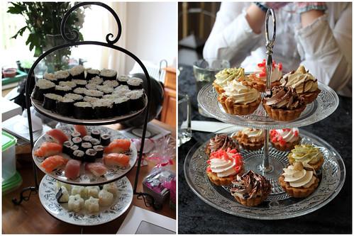 Sushi and Mini Cakes