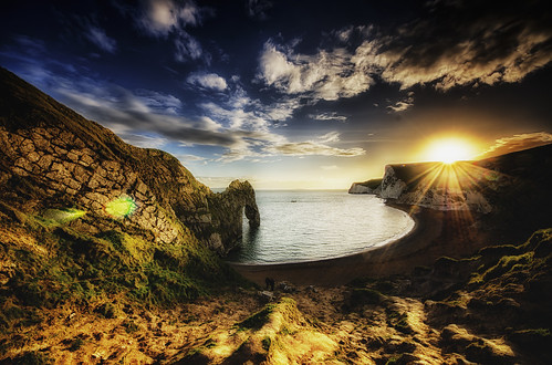 sunset sea sun landscape coast landscapes seaside sunsets coastal dorset flare hdr lulworth sunflare durdledoor devoncoast darbians