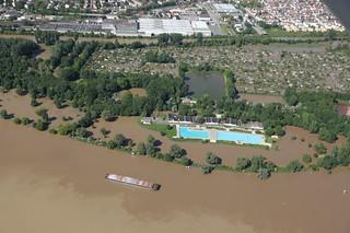Hochwasser 2013 in Kostheim aus der Luft - 04.06.13
