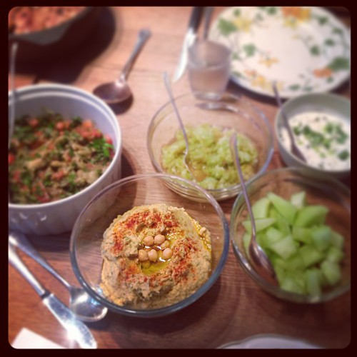 A special #dinner with friends. The #hummus was out of this world- with #coriander leaves/ #cilantro folded through. Lots of great great combinations. Thanks C