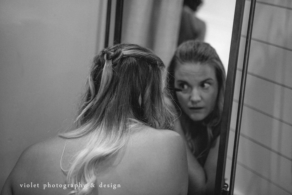 Bride doing her mascara