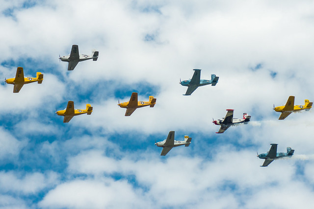Aircraft, Airplanes, Formation, Flying, Colorful